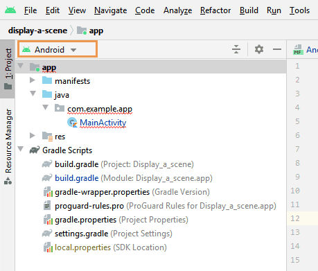 Android view in Project tool window