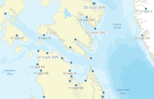 Labels of wind speed and direction