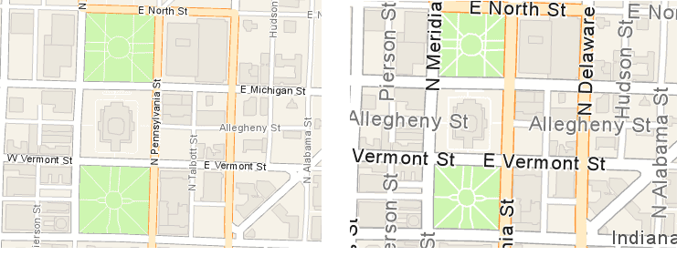 Street map (left) and Navigation map (right)