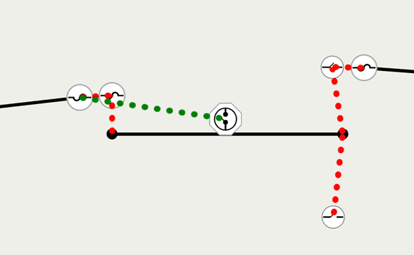 Association graphics showing connectivity in red and structural attachment in green