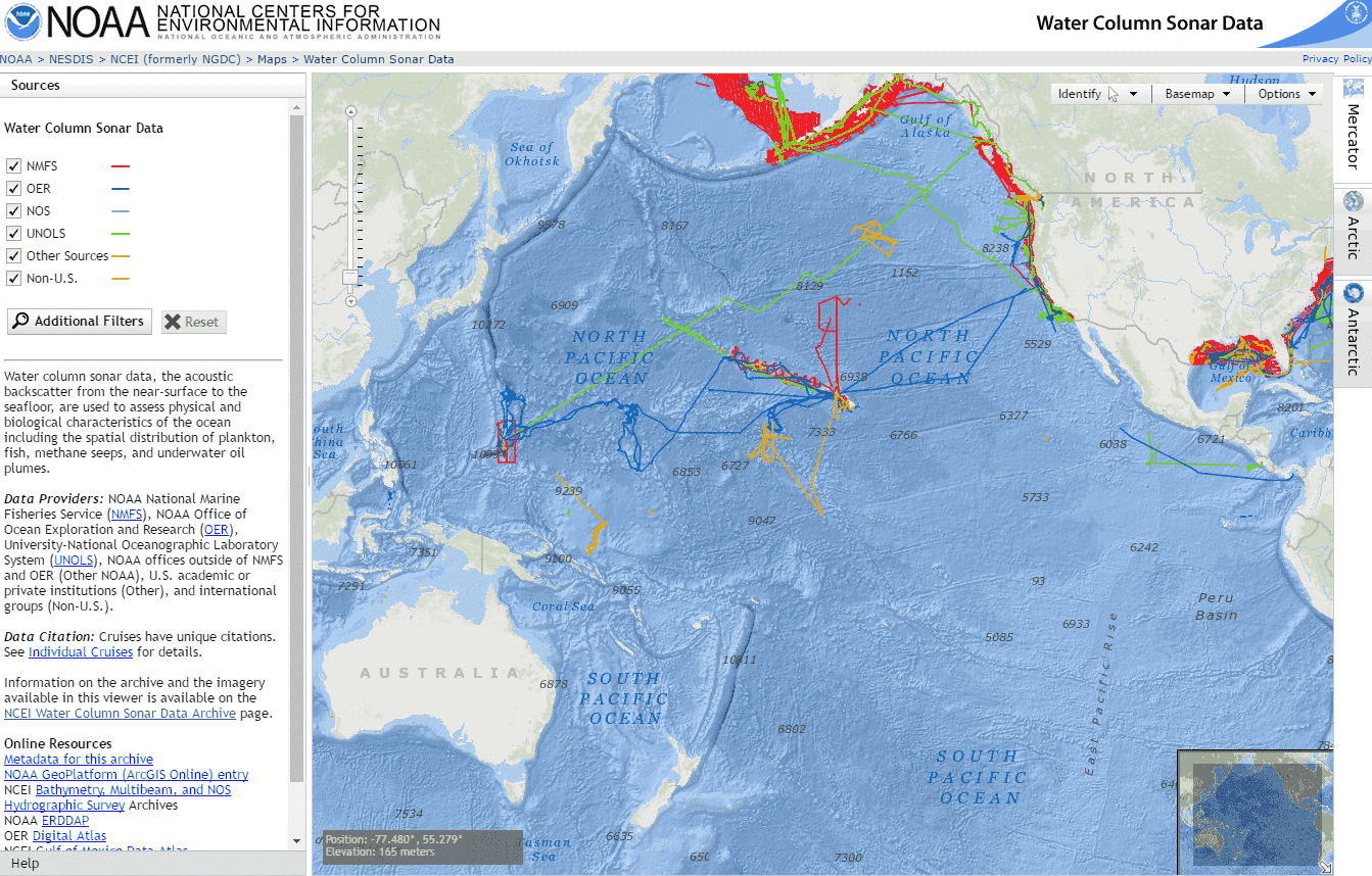 NOAA's Water Column Sonar Data viewer Application